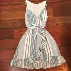 Striped Ruffle Crossover like  Dress